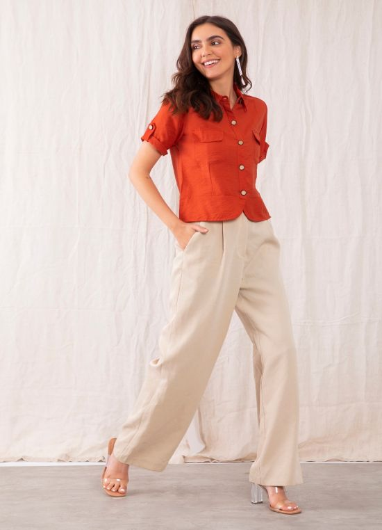 Red Solid Shirt For Women