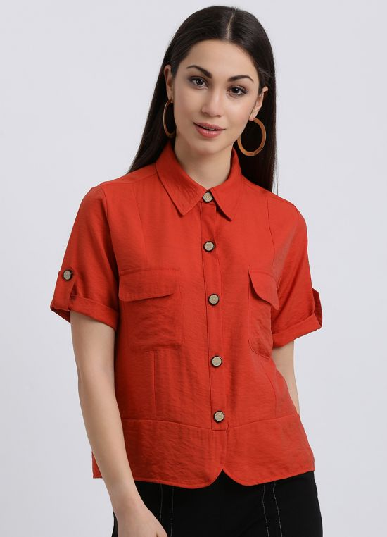 Coral Boyfriend Shirt for Women