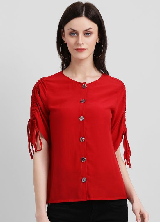 Ruched Sleeve Top With Buttons