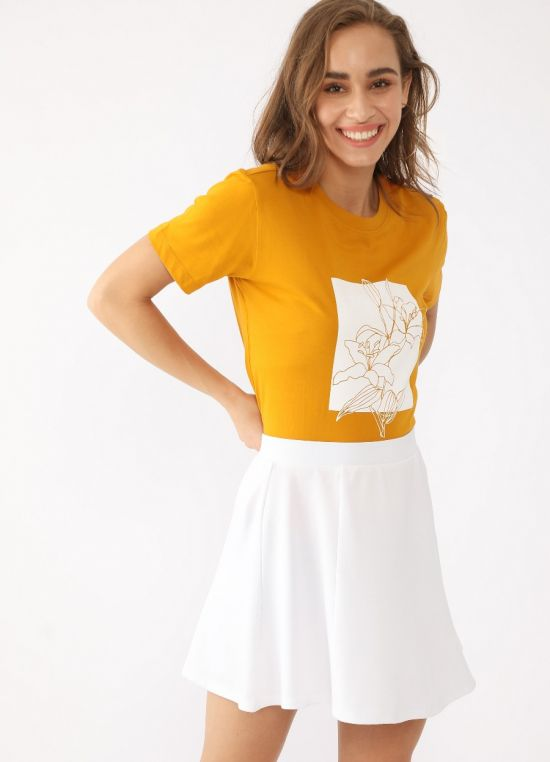 Yellow Graphic Short Sleeves T-Shirt for Women