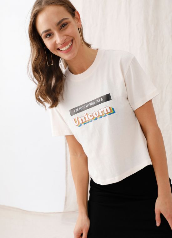Off White Printed Printed T-Shirt for Women