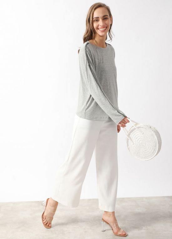 Grey Solid Long Sleeves Top For Women