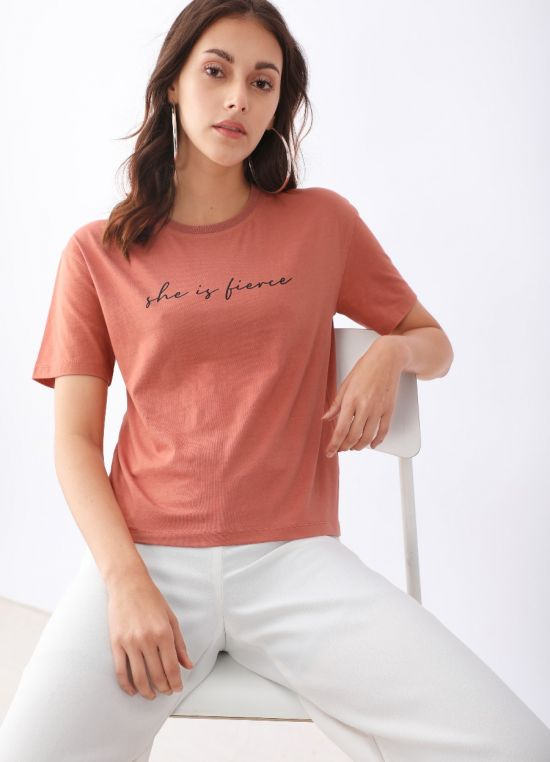 Peach Printed Printed T-Shirt for Women
