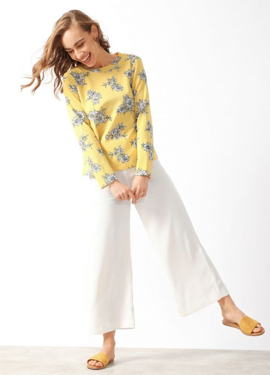 Yellow Floral Print Long Sleeves Top For Women