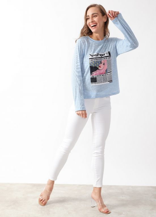 Blue Graphic T-Shirt For Women