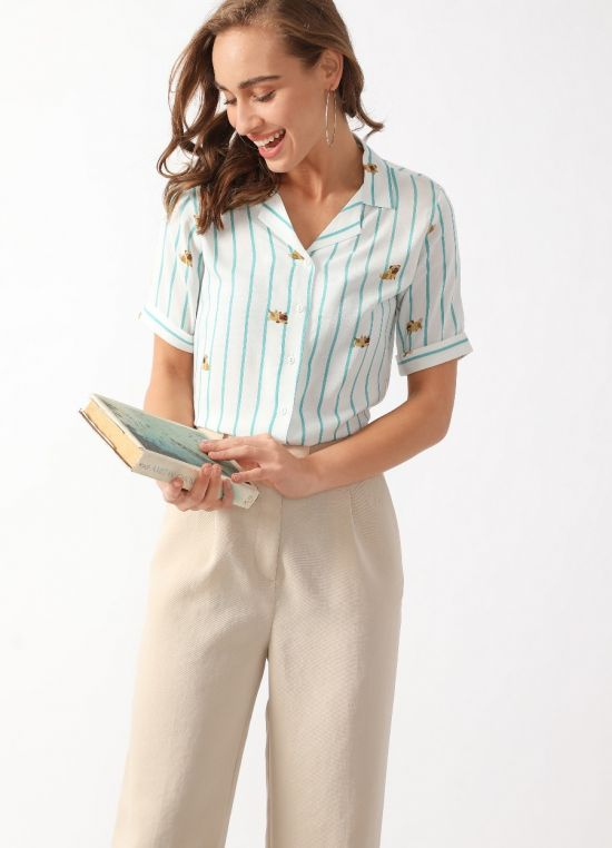 White Striped Short Sleeves Top for Women