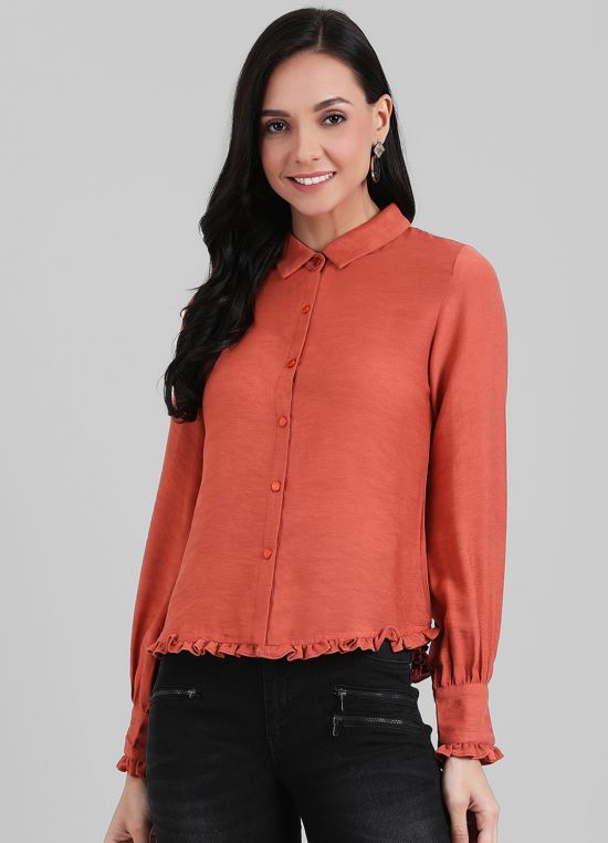 Zink London Rust Solid Shirt Style Top