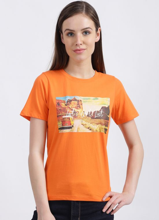 Zink London Women's Orange Graphic Regular T-Shirt