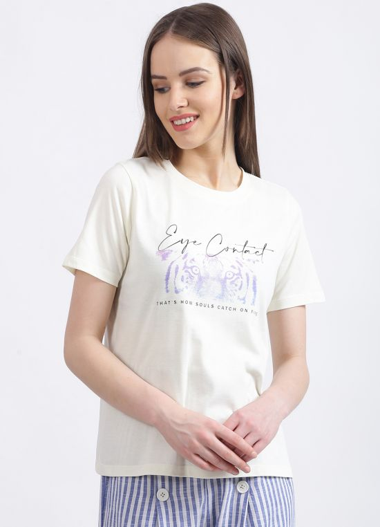 Zink London Women's White Graphic Regular T-Shirt