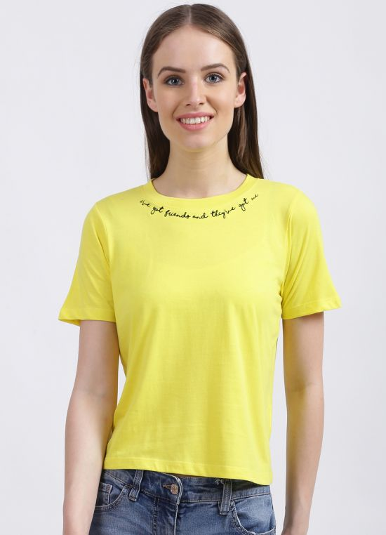 Zink London Women's Yellow Embroidered Regular T-Shirt