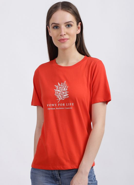 Zink London Women's Red Graphic Regular T-Shirt
