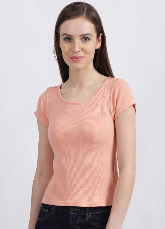 Zink London Women's Coral Solid Regular T-Shirt