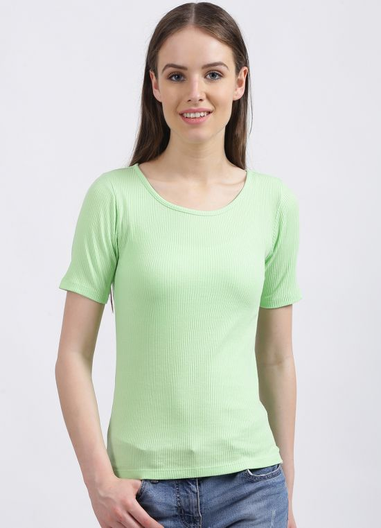 Zink London Women's Green Solid Regular T-Shirt