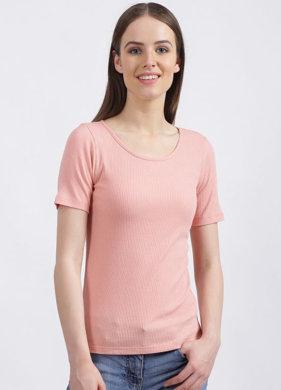 Zink London Women's Pink Solid Regular T-Shirt