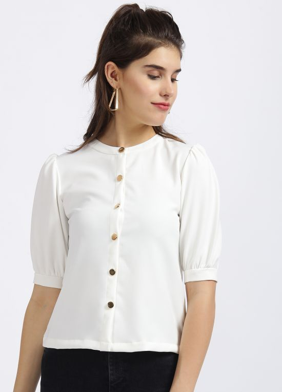Zink London White Solid Shirt Style Top