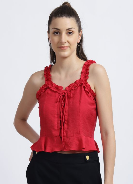 Zink London Red Solid Cropped Top