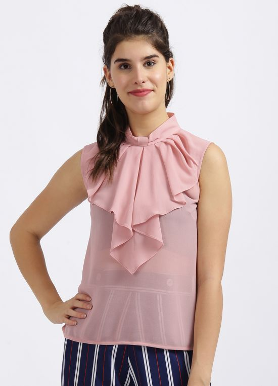 Zink London Pink Solid Pleats Top