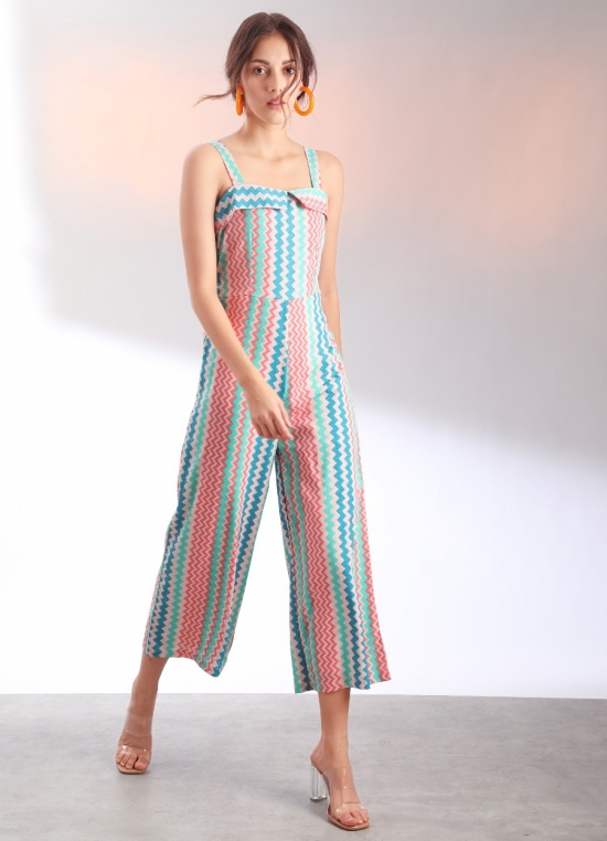 Multi Colored Geometric Print Strappy Jumpsuit For Women