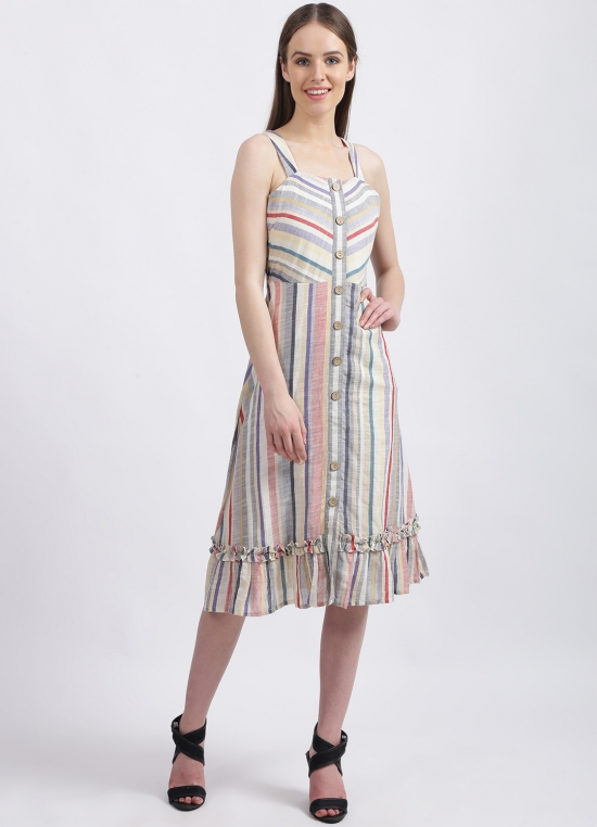 Multi-Colored Colored Solid Tiered Dress for Women