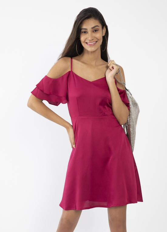 Maroon Solid Fit & Flare Short Dress For Women