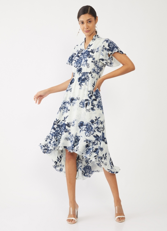 White Printed Tiered Midi Dress For Women