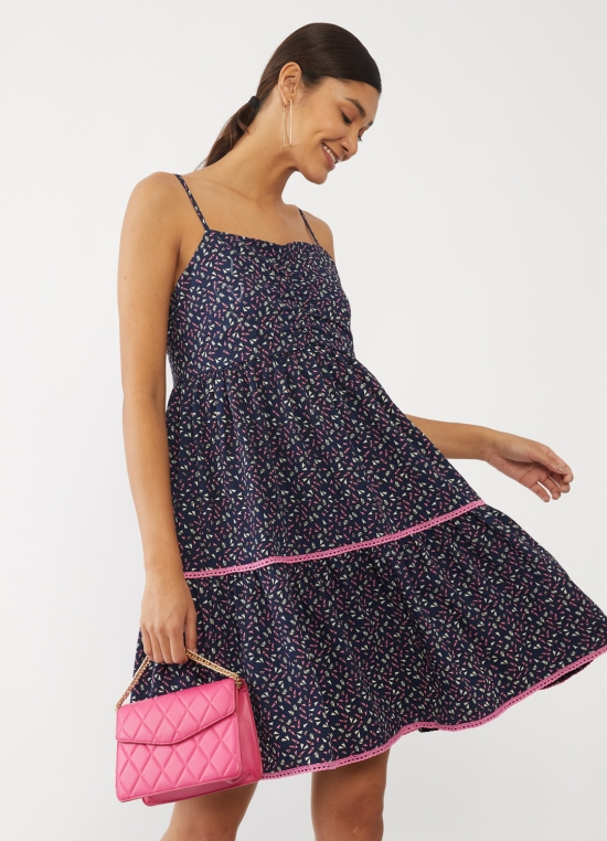 Navy Blue Printed Tiered Short Dress For Women