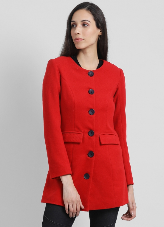 Red Solid Coat For Women