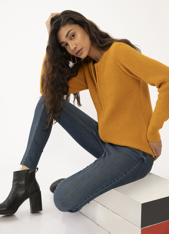 Yellow Solid Regular Sweaters For Women