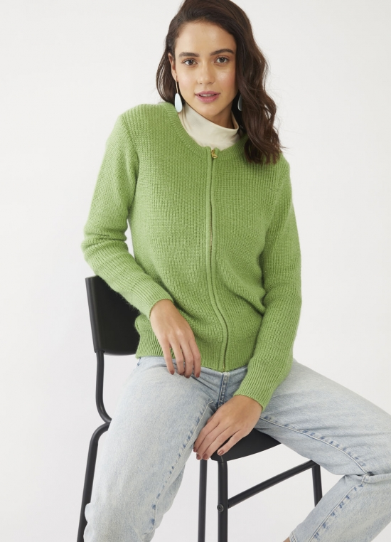 Green Solid Sweater For Women