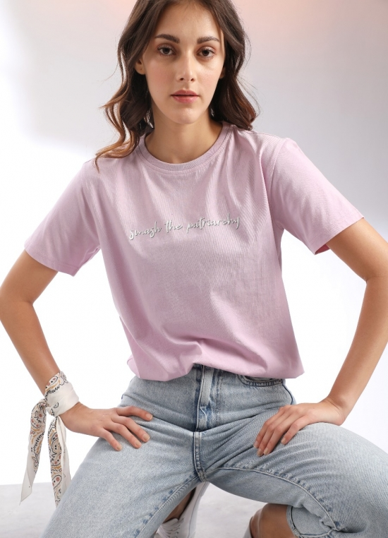 Pink Printed T-Shirt For Women