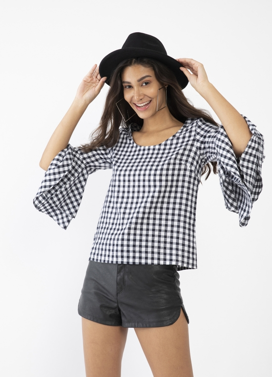 Black Checked Flared Sleeve Top For Women