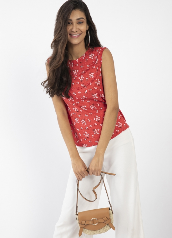 Red Floral Print Top For Women