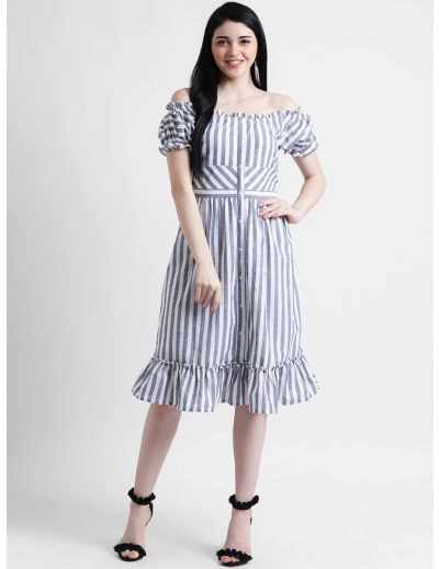 Stripes Bardot Dress