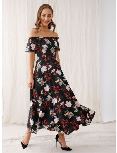 Black Floral Print Off-Shoulder Maxi Dress For Women