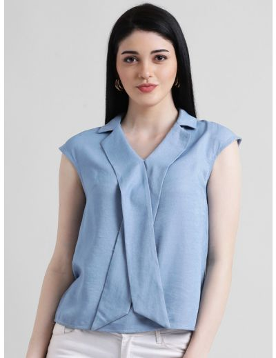 Blue Solid Tie-Up Top For Women