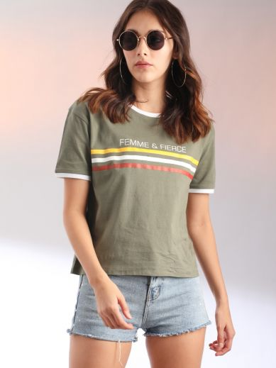 Green Printed T-Shirt For Women