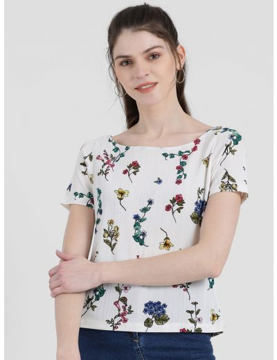 Zink London Women's White Floral Printed Top