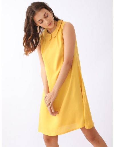 Yellow Solid A-Line Tunic For Women